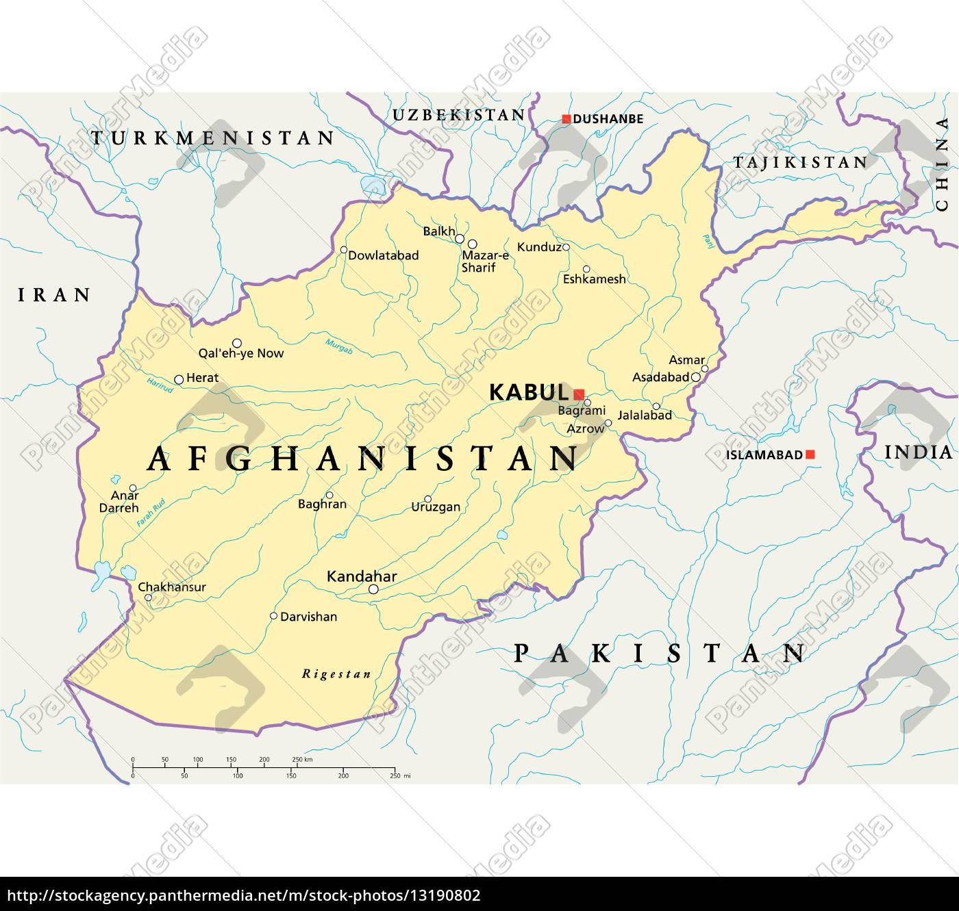 Afghanistan Political Map Royalty Free Image 13190802