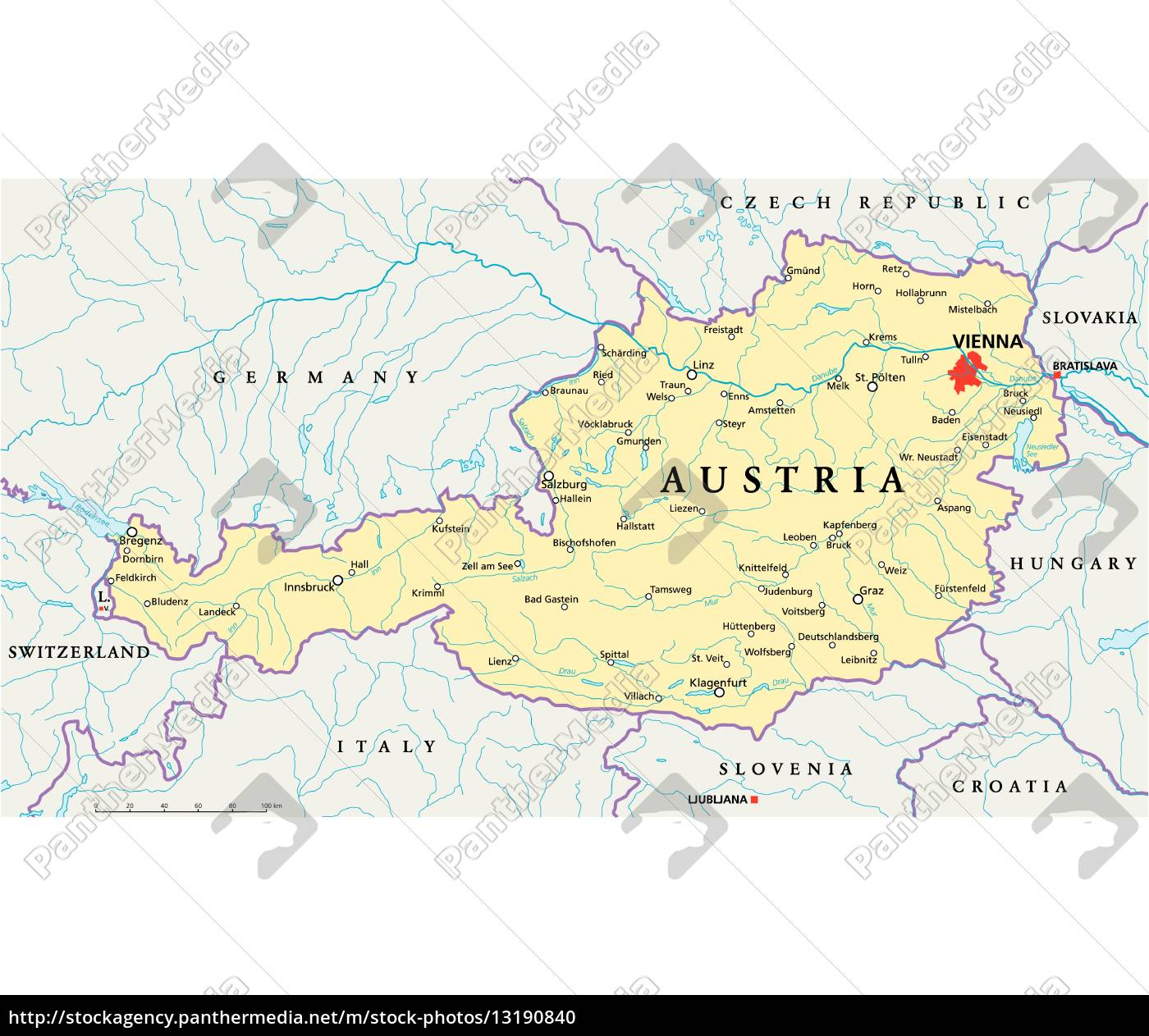 Austria Political Map Royalty Free Photo 13190840