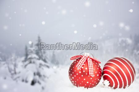christmas card with christmas balls and
