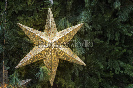 decoration golden star christmas market