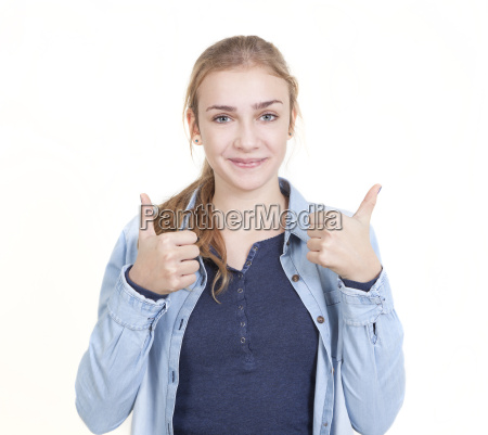 young woman two thumbs