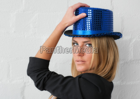 woman with party hat