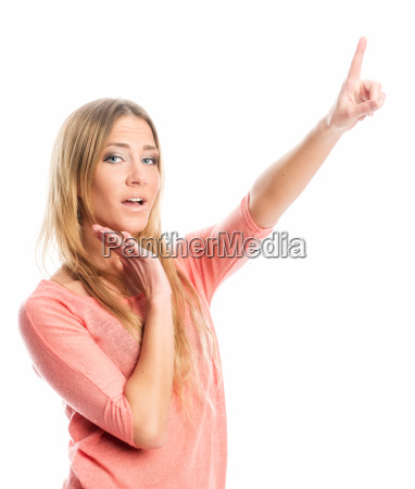 woman points with her finger