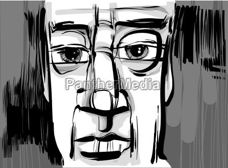 man face artistic drawing illustration