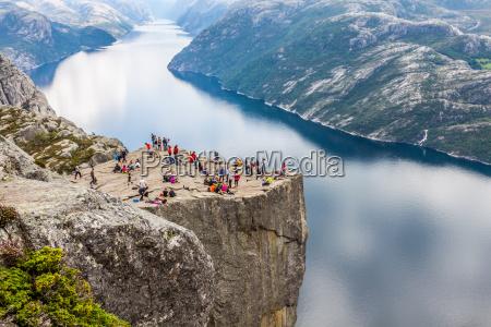 preikestolen pulpit rock at lysefjorden norway
