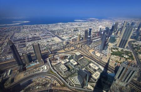 dubai panorama aerial view