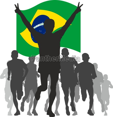 winner with the brazil flag at