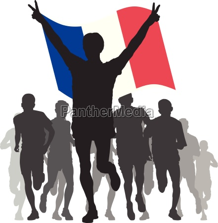 winner with the france flag at