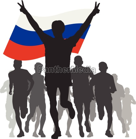 winner with the russia flag at