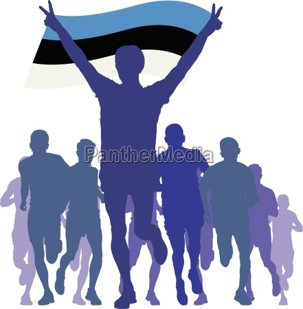 winner with the estonia flag at