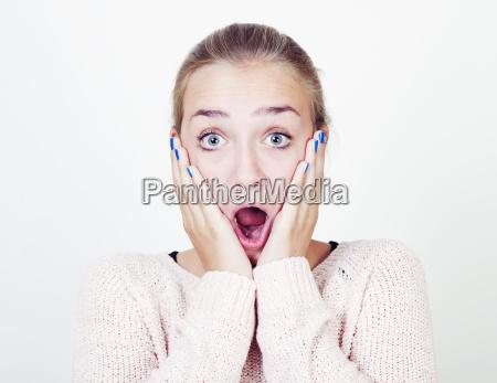 girl frightened portrait