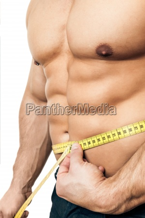 bodybuilder with measuring tape