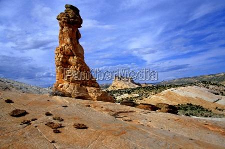 blue upwards monument stone desert wasteland