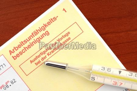 arbeitsunfaehigkeitsbescheinigung certificate of incapacity for