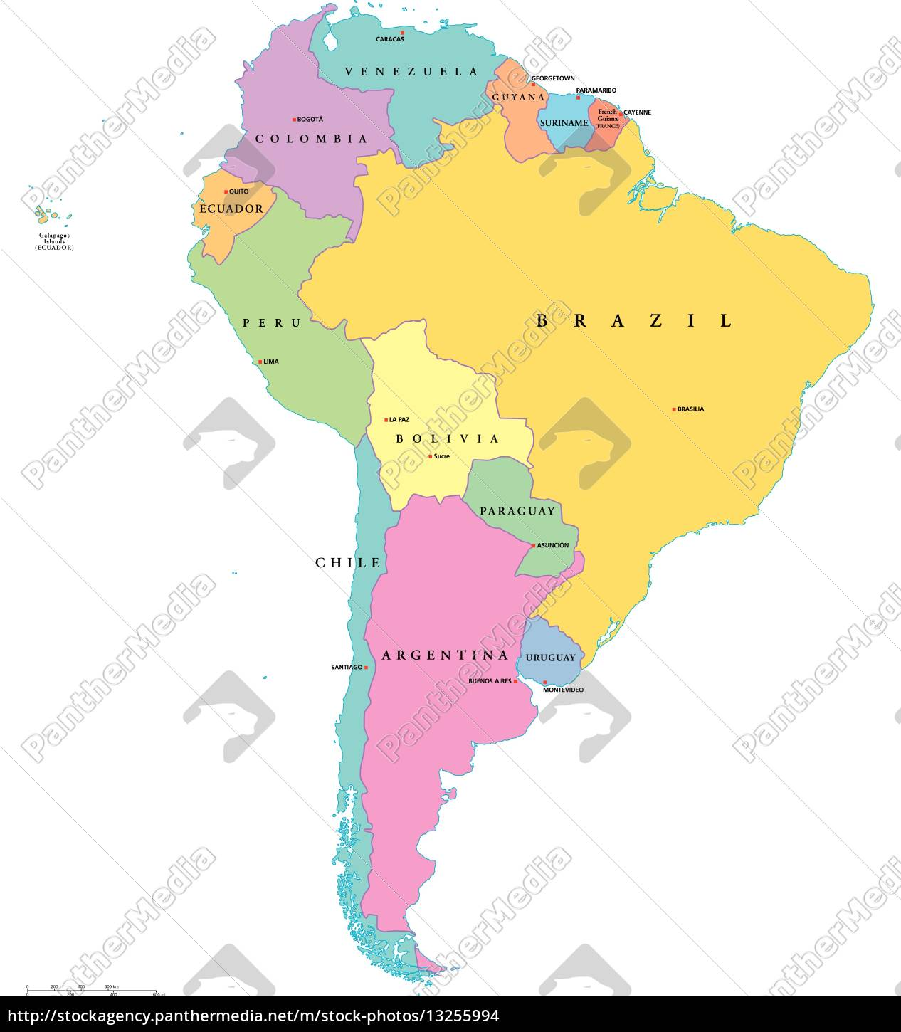 South America Single States Map Stock Image 13255994