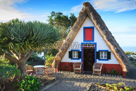 typical old houses on santana madeira