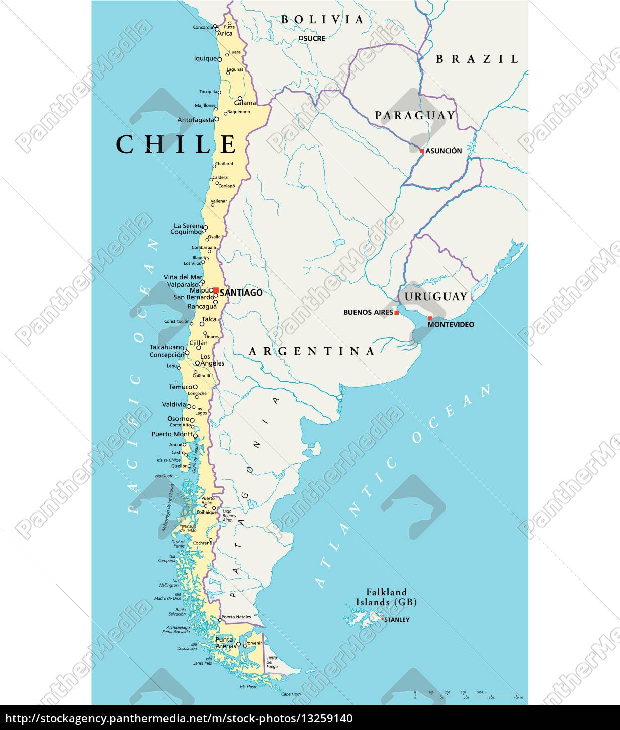 Chile Political Map Royalty Free Photo 13259140