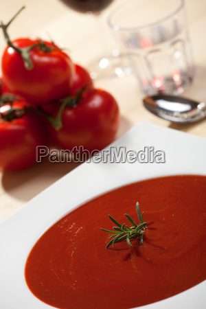 closeup of fresh tomato soup