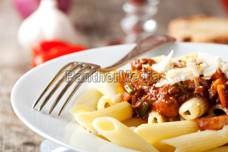 penne bolognese and parmesan