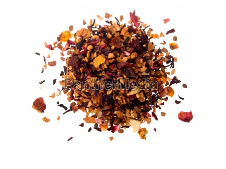 pile of fruit tea with petals