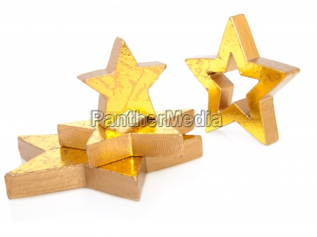 golden christmas stars isolated on white