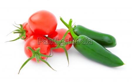 jalapeno pepper and tomatos isolated on