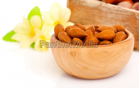 dried almonds with flowers in the