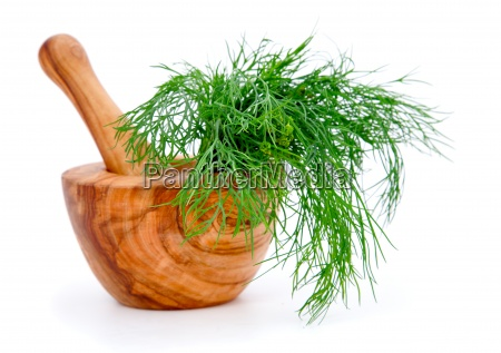 wooden mortar with dill on white