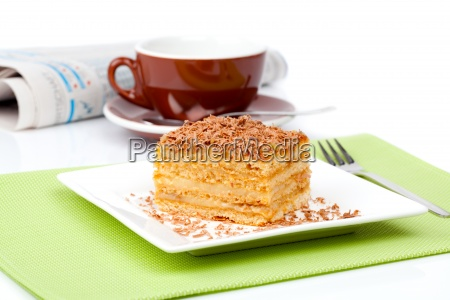 sweet dessert cake with cup of