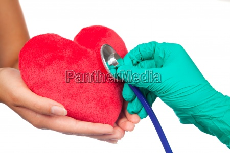 stethoscope with red hearts