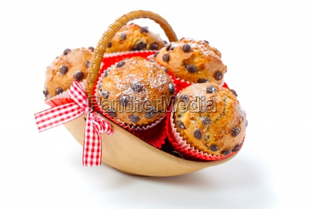 muffins in a basket on a