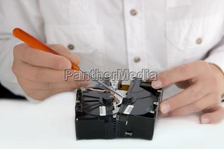 computer technician at work