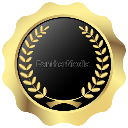 gold button with laurel wreath
