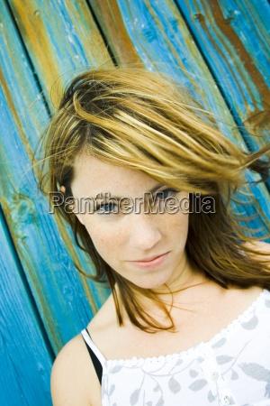 woman earnest blue colour human human