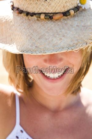 woman hat summer flower spring smile