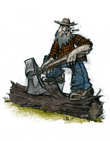 strong lumberjack with ax illustration