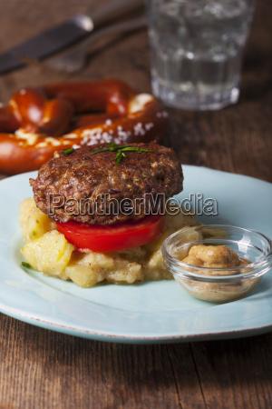 bavarian meat patties and potato salad