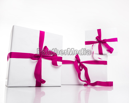 christmas white gift box with violet