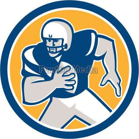 american football qb player running circle