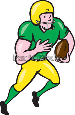 american football receiver running ball cartoon