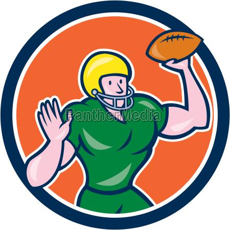 american football qb throwing circle retro
