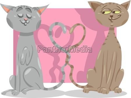 cats in love cartoon illustration