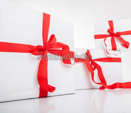 white gift box with nice ribbon