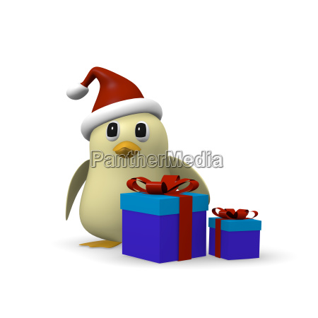 bird with gift boxes