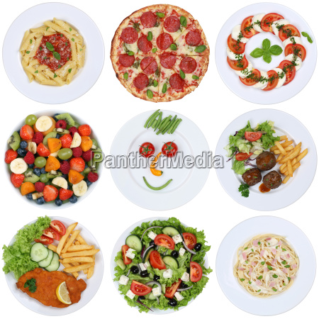 dishes food collection with pizza salad