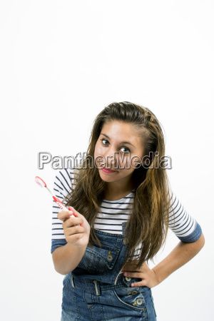beautiful smiling girl with toothbrush