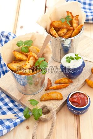fresh potato nips with dip