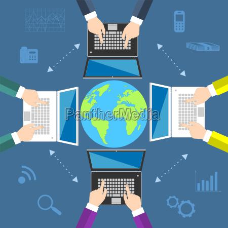teamwork concept of global business communication