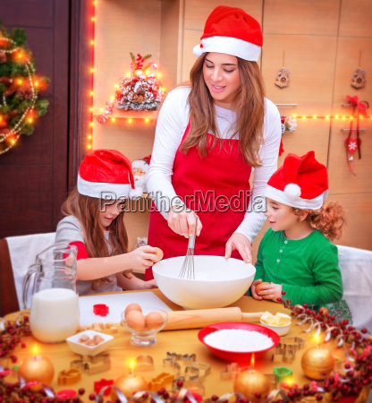 happy family cooking for christmas