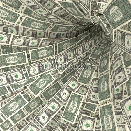money swirls of 1 dollar bills